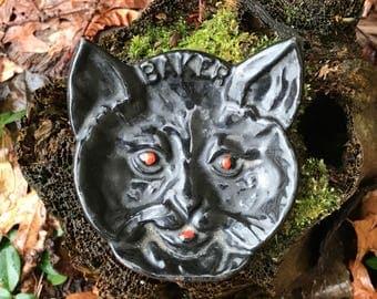 Vintage Advertising Cast Iron Dish Baker Vintage Iron Enamel Cat Dish Tray