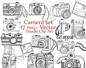 "40%SALE Doodle Camera clipart: ""CAMERA CLIP Art"" camera vector cute cameras hand drawn camera photography clipart retro camera clipart boho"