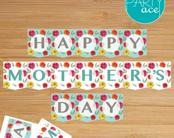 Happy Mother's Day Flowers and Dots Printable Banner Mom Mum Grandma Tea Party Decoration