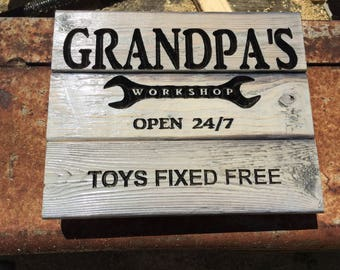 Carved Grandpa's Workshop - Father's Day Gift - FREE SHIPPING  in the USA