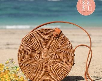 Round rattan basket bag, Bohemian round ata bag, Round shoulder bag, Boho ata round bag, Bali handwoven ata bag