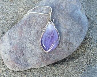 Amethyst necklace, purple gemstone