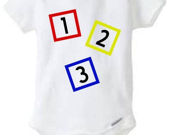 Number Blocks Onesie Design, SVG, DXF, EPS Vector files for use with Cricut or Silhouette Vinyl Cutting Machines