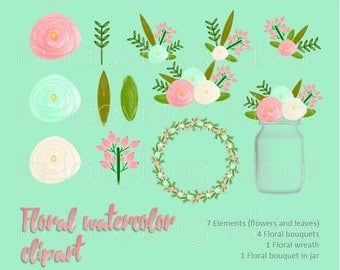 On Sale Coral and mint floral Watercolor Clip art. Instant download PNG files. High resolution (300dpi).