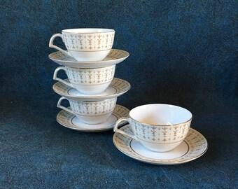 Vintage Kent Tiara Gold Fleur De Lis Cups and Saucers, Set of 4