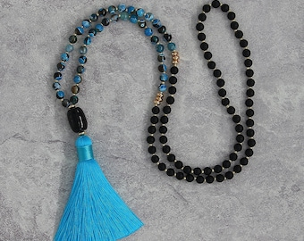 Blue fire agate beads necklace long tassel necklace black matt agate necklace black pendent necklace agate necklace tassel necklace NL-051