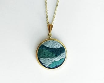 Abstract Embroidery Pendant - Blue