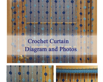 PDF pattern Crochet curtain with long threads (symbol chart only), crochet diagram