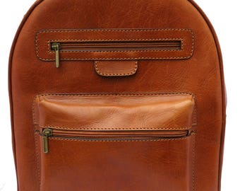 Hand-made Premium Leather Rucksack Backpack in Tan