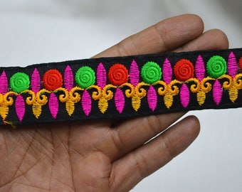 Red Embroidered Fabric Trim and embellishments Indian Laces Sari Border Trim By 2 Yard Sewing Craft Ribbon Trimmings Saree Trims
