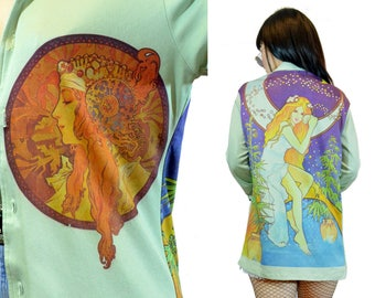 vintage 1970s FAIRY blouse mystical Wonderland print mint shirt top novelty Goddess stars moon cosmic shirt gypsy Small