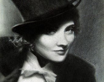 Pencil drawing. Marlene Dietrich, framed