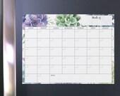 Boho dry erase monthly, perpetual calendar, dry erase planner, whiteboard organizer, boho calendar, succulent calendar, whiteboard planner
