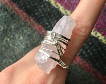 Rose Quartz Crystal Wrap Ring