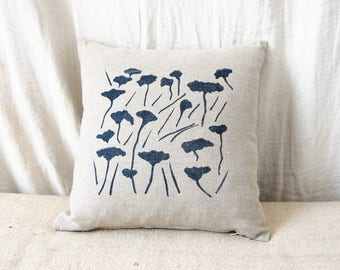 Decorative pillow case / handprinted in France / field print