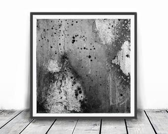 gray, black and white abstract, 12x12,  minimalism art, Abstract printable art, Black  brush strokes, Square Prints,    abstract art print