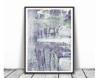 Abstract  Painting, Blush violet Wall Art, Abstract Art Print, Scandinavian Art green violet white gray Wall Art, Minimalist Art, pastel art