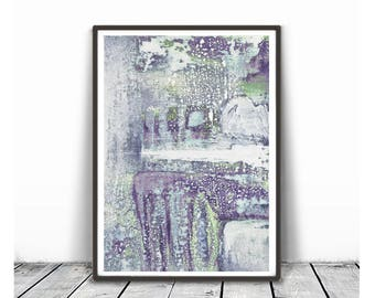 Abstract  Painting, Blush violet Wall Art, Abstract Art Print, Scandinavian Art green violet white gray Wall Art, Minimalist Art, pastel art