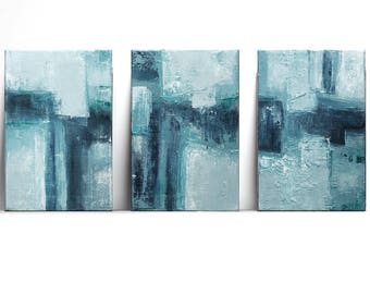 set of 3 abstracts, teal abstract, original painting, Wall Art, Modern Art Painting, Boho Painting, turquoise with mint, navy blue, pastel