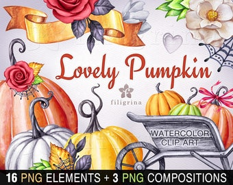 PUMPKIN watercolor Clip Art. Halloween, Thanksgiving, fall, autumn, harvest, farming, nature, wheelbarrow, rustic, flowers. Read how to use