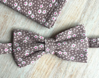 Bow tie + Pocket - floral taupe