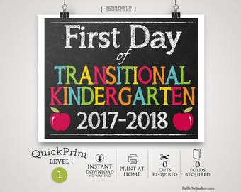 50% OFF SALE - Printable First Day of Transitional Kindergarten Sign, First Day of School Sign, INSTANT Download, Print at Home, No Waiting