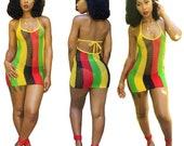 Summer women fish mesh hollow out rasta sexy dress rlw1029