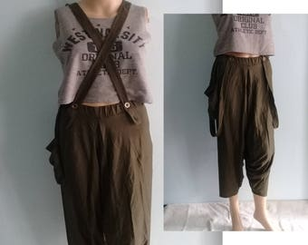 Genie Pants Quality Harem Zen Sports Chic Strap Braces  Jersey Cotton Olive Green