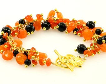 Neon Orange Carnelian and Black Onyx Cluster Vermeil Bracelet, Orange and Black Gemstone Gold Plated Sterling Silver Bracelet