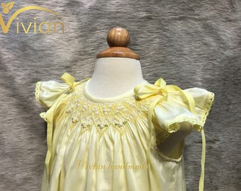 Cotton silk hand smocked bishop dress for girl 1Y