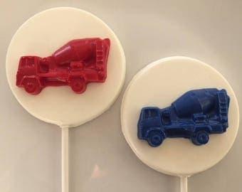 CEMENT TRUCK Chocolate Lollipops(12 qty) - Construction Party/Boys Birthday/Party Favors/Construction Favors/Cement Trucks