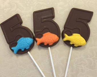 NUMBER FIVE FISH Chocolate Lollipop (12 qty)-Fishing/Fifth Birthday/Fishing Party/Fish/Party Favor/Finding Nemo/Chocolate Fish/Going Fishing