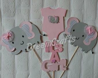 Elephant Centerpiece. 4 Piece Elephant Baby Shower Centerpiece. Elephant Baby Shower. It's a girl! It's a boy!