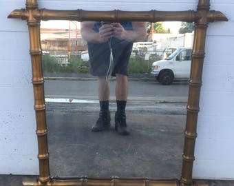 Hollywood Regency style Gold Gilt Faux Bamboo Mirror
