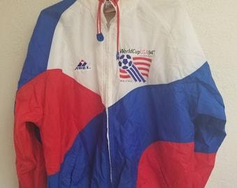 True vintage USA World Cup 1994 windbreaker jacket, sz. Large, red white and blue , soccer , futbol , retro coat, Apex brand