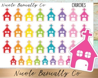 Rainbow Church Planner Stickers (w/ Mini's!) for use with Erin Condren Planner and other planners