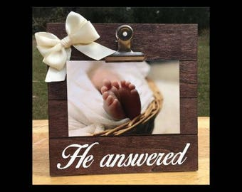 For this Child we have Prayed - He Answered - Pregnancy Announcement clip frame. We're expecting baby surprise gift pregnant ultrasound