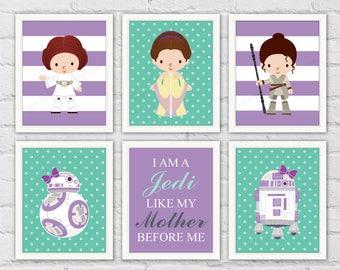 Star Wars Girl Nursery Decor. BB8 Rey R2D2 Princess Leia Queen Amidala Padme. Purple Teal Girl Room Decor. Gift For Mother. Item No.: 347