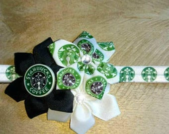 Starbucks flower headband, Starbucks headband, flower headband, black and green flower headband, black and green headband, Starbucks