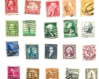 20 used rainbow old US postage stamps, all different, all off paper - 1888 onward - for scrapbooking, stamp collecting and crafting