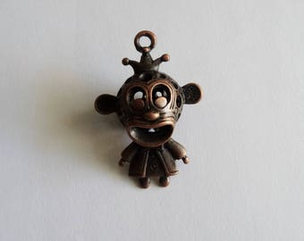 1 Copper 3D Monkey/Creature Jewellery Pendant 45x30mm