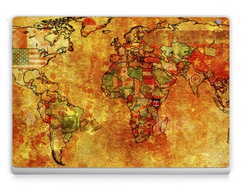 Surface book/Pro 4 Decals **The Whole World Map** Microsoft Surface Stickers/Decal/Microsoft Lap Top