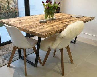 Package Vintage Industrial Style Reclaimed Dining Table With Matching Bench