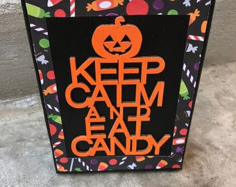 Halloween painted canvas sign with wood sentiment,  5x7, Halloween Fall decor, Halloween decoration, Halloween table top