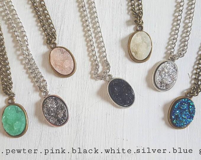 Long druzy pendant necklace silver or antique bronze