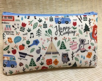 Laminated Cotton Zippered Pouch with a Camping Motif