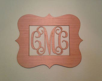 Painted Monogram, Initials with Border, Personalized, Above the Crib, Baby Room, Nursery Decor, Wood Monogram, Vintage, Wedding
