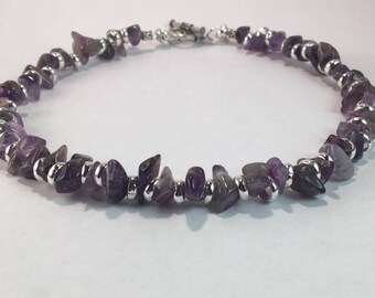 Handmade Genuine Purple Amethyst Gemstone Necklace jewelry February birthstone necklace Genuine Amethyst Choker Aquarius necklace jewelry