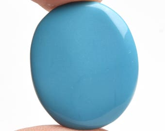 Natural Certified Blue Turquoise 26.50 Ct. Blue Turquoise top Quality Oval Cabochon Loose Gemstone DK-051
