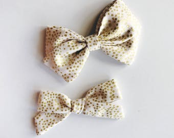 g o l d dot fabric bow, sailor bow, Christmas bow, holiday bow, metallic bow